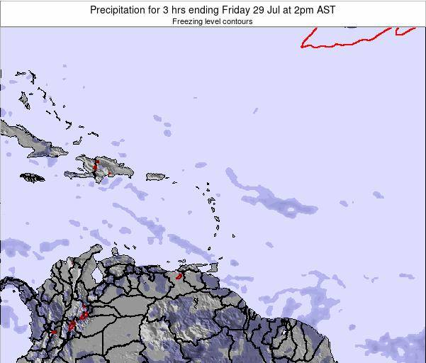 Saint Kitts and Nevis Precipitation for 3 hrs ending Tuesday 29 Apr at 8pm AST