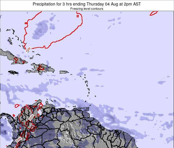 Saint Kitts and Nevis Precipitation for 3 hrs ending Wednesday 23 Apr at 2pm AST