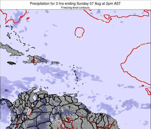 Saint Kitts and Nevis Precipitation for 3 hrs ending Tuesday 28 May at 8am AST