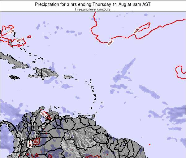 Saint Kitts and Nevis Precipitation for 3 hrs ending Thursday 13 Mar at 2pm AST
