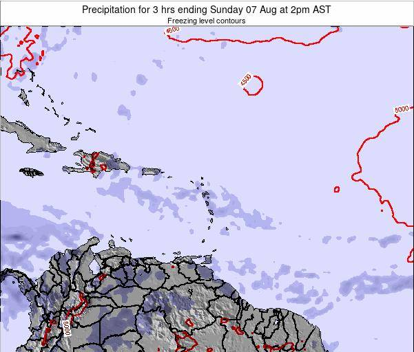 Saint Kitts and Nevis Precipitation for 3 hrs ending Tuesday 22 Apr at 8am AST