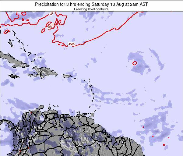 Saint Kitts and Nevis Precipitation for 3 hrs ending Tuesday 05 Aug at 8am AST