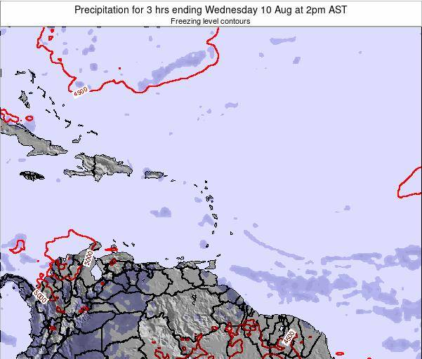 Saint Kitts and Nevis Precipitation for 3 hrs ending Friday 25 Apr at 2am AST