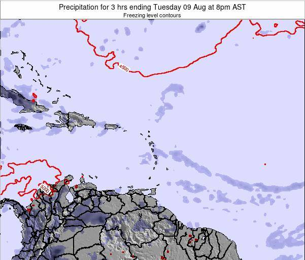 Saint Kitts and Nevis Precipitation for 3 hrs ending Thursday 19 Dec at 2pm AST