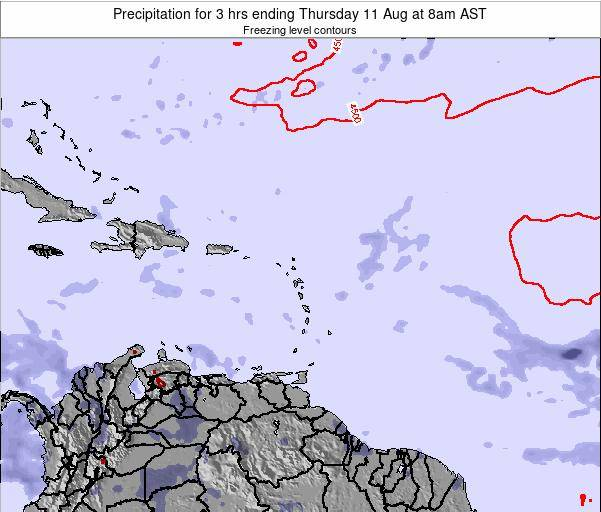 Saint Kitts and Nevis Precipitation for 3 hrs ending Thursday 25 Sep at 2am AST