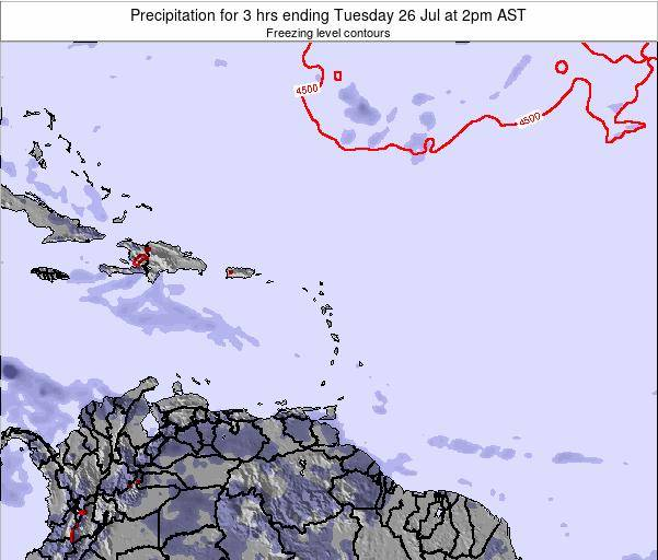 Saint Kitts and Nevis Precipitation for 3 hrs ending Wednesday 06 Aug at 8am AST