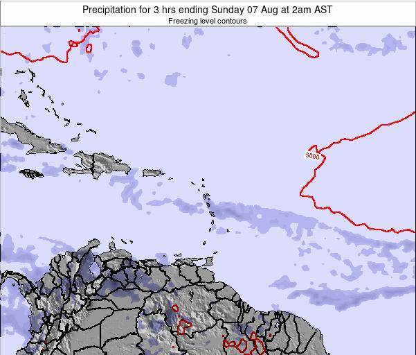 British Virgin Islands Precipitation for 3 hrs ending Friday 01 Aug at 2am AST