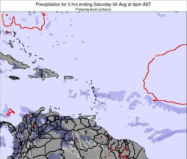 British Virgin Islands Precipitation for 3 hrs ending Thursday 21 Aug at 8am AST