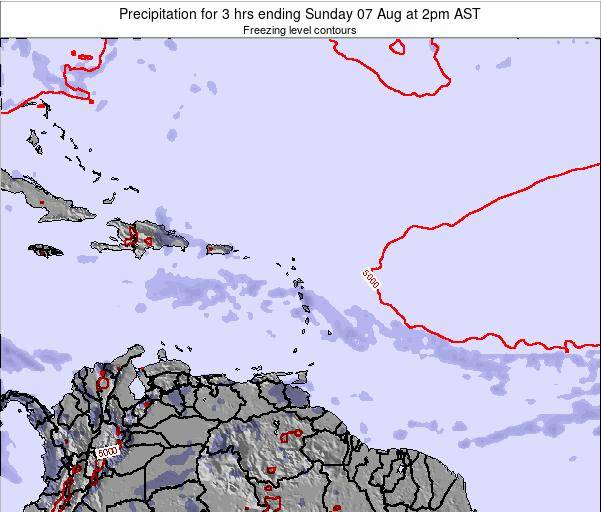 British Virgin Islands Precipitation for 3 hrs ending Friday 25 Jul at 2am AST
