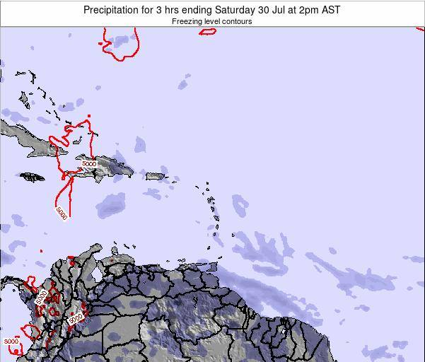 British Virgin Islands Precipitation for 3 hrs ending Friday 14 Mar at 8am AST