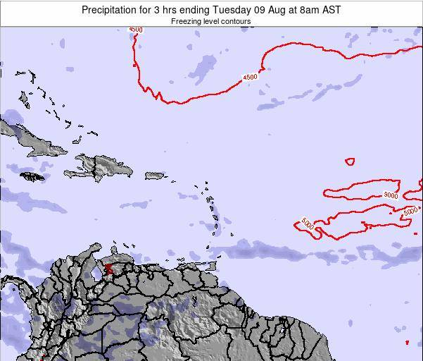 Saint Kitts and Nevis Precipitation for 3 hrs ending Friday 21 Jun at 8pm AST