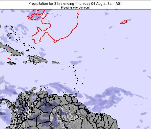 British Virgin Islands Precipitation for 3 hrs ending Tuesday 27 Feb at 2pm AST map