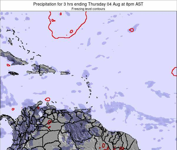 British Virgin Islands Precipitation for 3 hrs ending Saturday 02 Aug at 2am AST