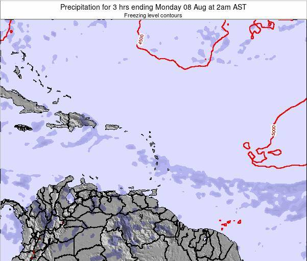 British Virgin Islands Precipitation for 3 hrs ending Friday 22 Aug at 2am AST