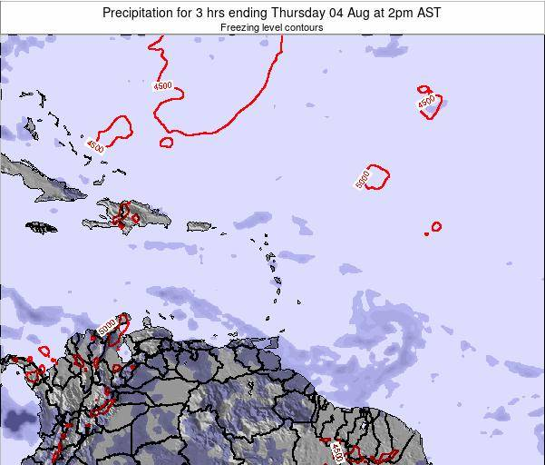 Saint Kitts and Nevis Precipitation for 3 hrs ending Monday 21 Apr at 8am AST