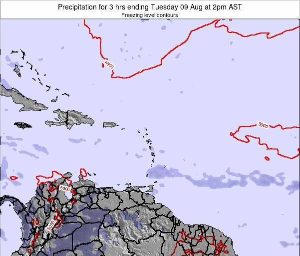 Saint Kitts and Nevis Precipitation for 3 hrs ending Friday 25 Jul at 2pm AST