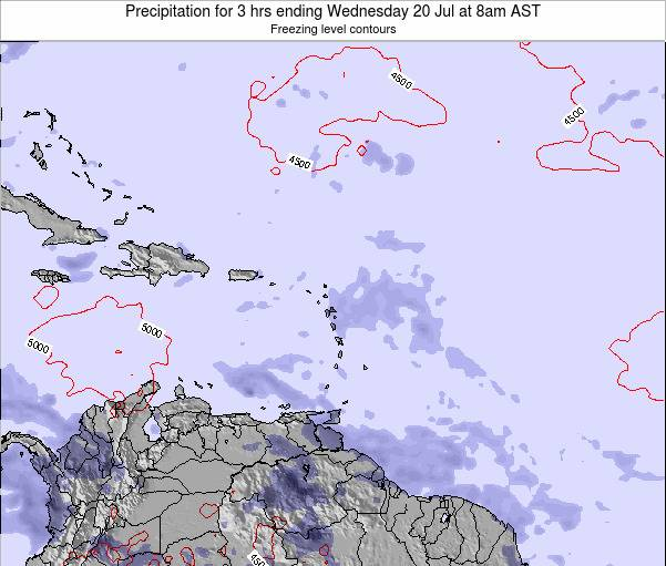 Saint Kitts and Nevis Precipitation for 3 hrs ending Tuesday 21 May at 2pm AST