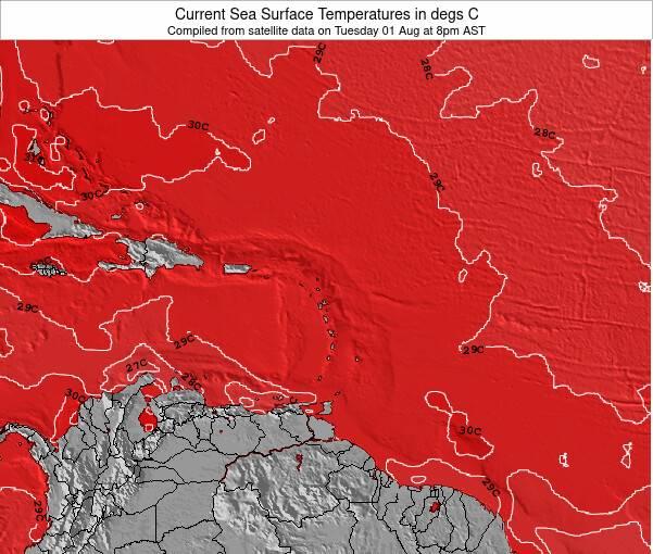 République Dominicaine Température de la Mer Carte