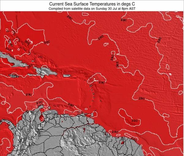Guadeloupe Zeetemperatuur Kaart