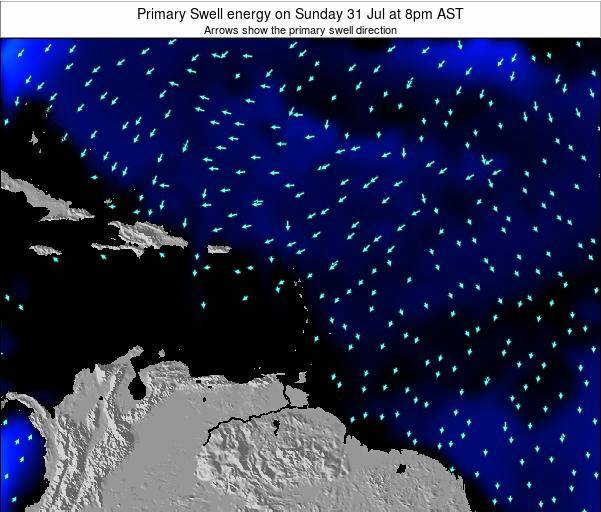 Saint Lucia Primary Swell energy on Monday 19 Mar at 2am AST map