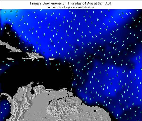 Guadeloupe Primary Swell energy on Saturday 15 Dec at 8pm AST map