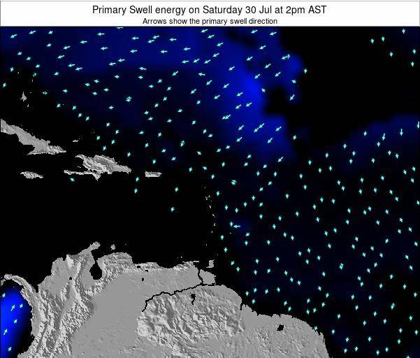 Saint Lucia Primary Swell energy on Sunday 27 Jul at 8pm AST