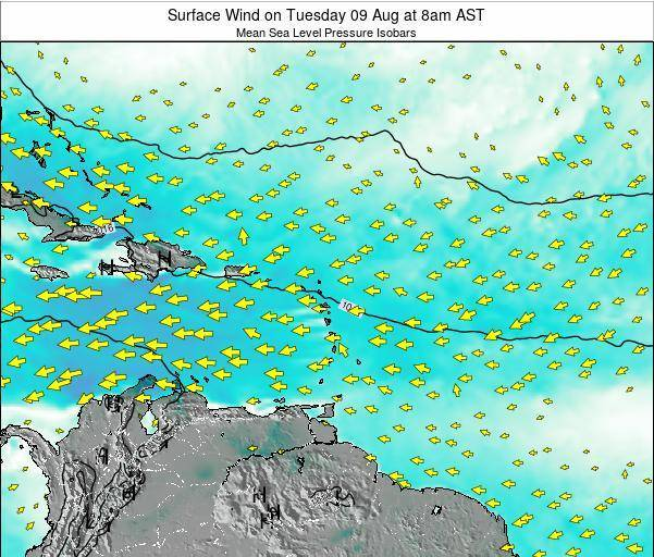 British Virgin Islands Surface Wind on Friday 14 Mar at 2pm AST