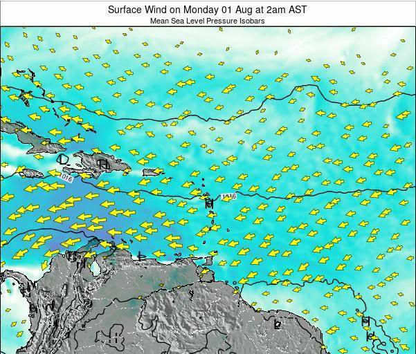 British Virgin Islands Surface Wind on Sunday 22 Dec at 2pm AST