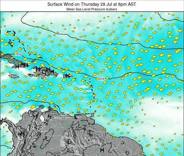 British Virgin Islands Surface Wind on Tuesday 11 Mar at 8am AST