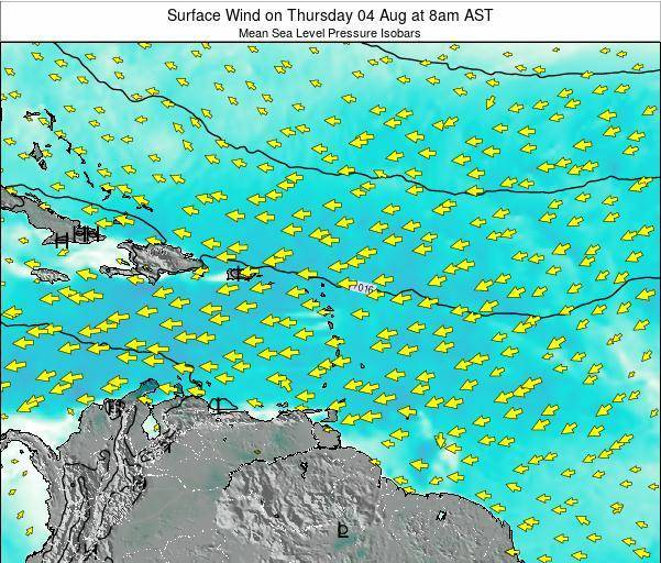 British Virgin Islands Surface Wind on Wednesday 23 Apr at 2am AST