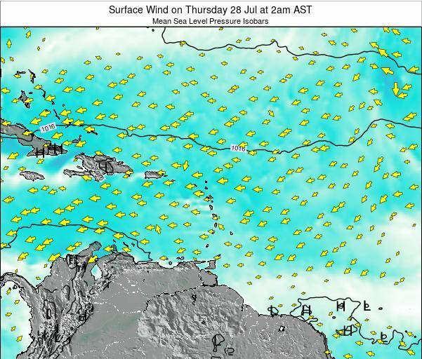 Saint Lucia Surface Wind on Thursday 23 May at 2pm AST