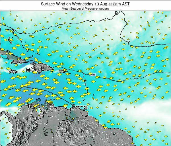British Virgin Islands Surface Wind on Sunday 03 Aug at 8pm AST
