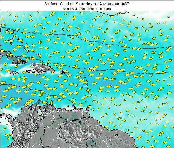 British Virgin Islands Surface Wind on Sunday 27 Jul at 8am AST