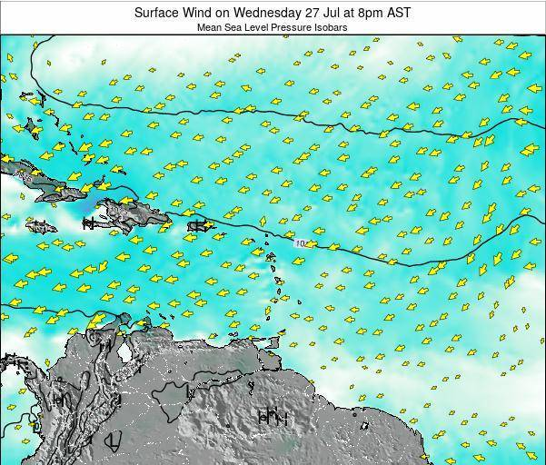British Virgin Islands Surface Wind on Saturday 25 Oct at 8pm AST
