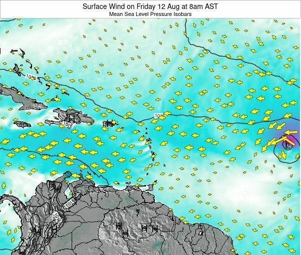 Barbados Surface Wind on Saturday 25 May at 8am AST