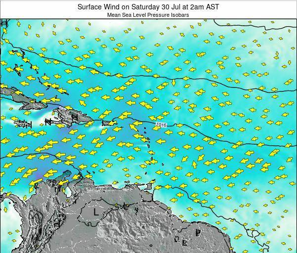 British Virgin Islands Surface Wind on Wednesday 16 Apr at 8am AST