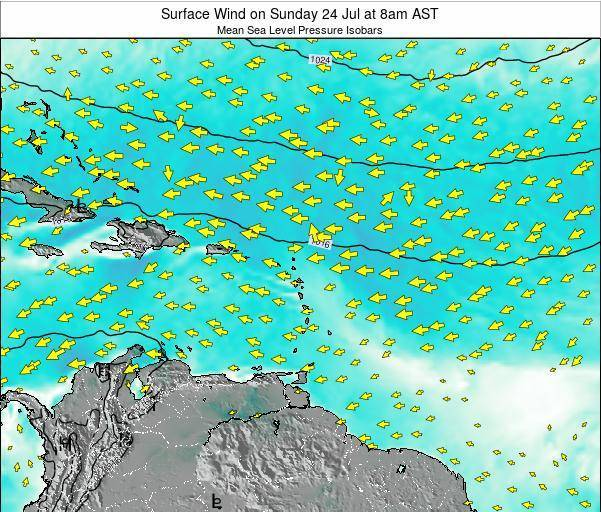 British Virgin Islands Surface Wind on Tuesday 29 Jul at 2pm AST