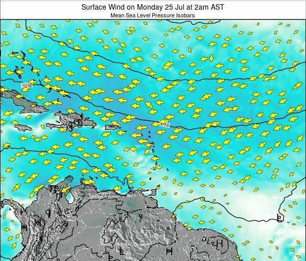 British Virgin Islands Surface Wind on Thursday 23 Feb at 2am AST