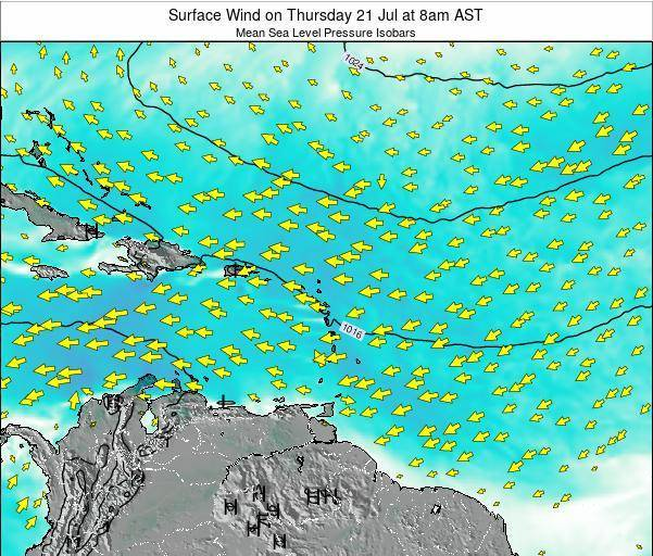 British Virgin Islands Surface Wind on Thursday 24 Apr at 2pm AST