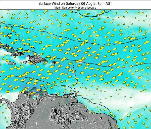 British Virgin Islands Surface Wind on Tuesday 22 Jul at 8pm AST