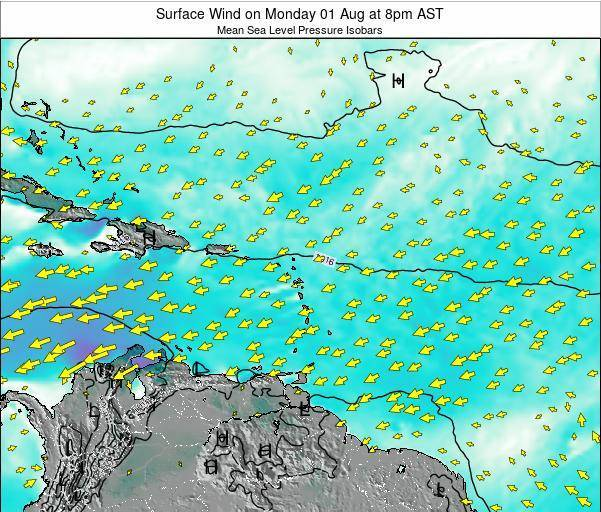 British Virgin Islands Surface Wind on Monday 20 Nov at 8pm AST map