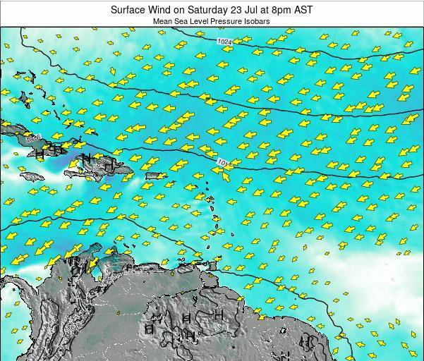 Saint Lucia Surface Wind on Tuesday 18 Jun at 2am AST
