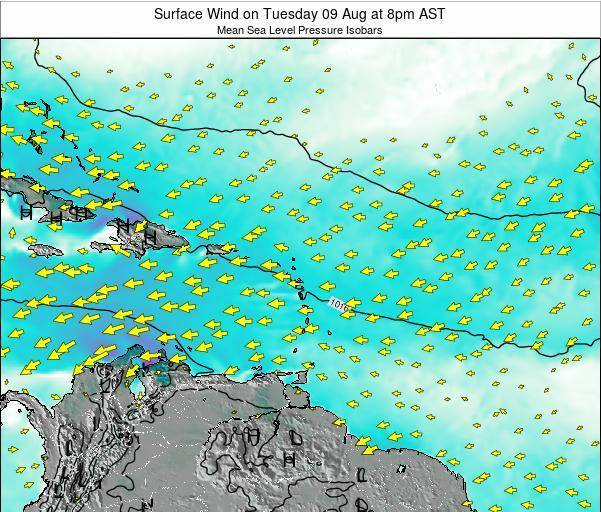 Anguilla Surface Wind on Monday 27 May at 2pm AST map