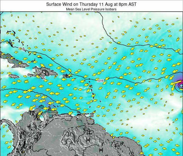 British Virgin Islands Surface Wind on Thursday 24 Apr at 2am AST