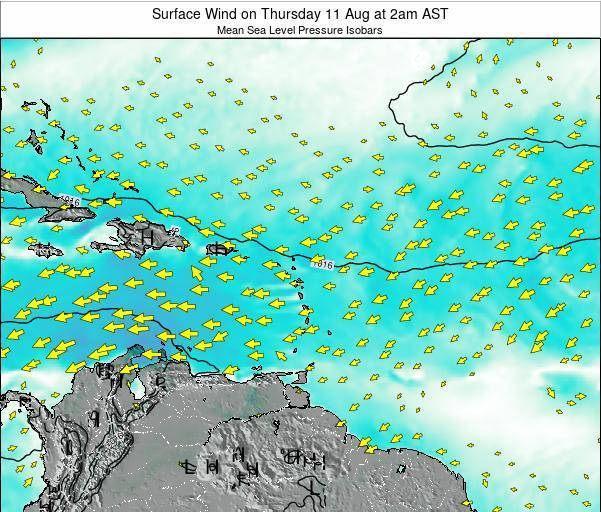 British Virgin Islands Surface Wind on Wednesday 05 Nov at 2pm AST