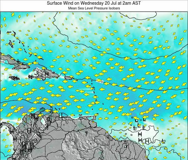 Saint Lucia Surface Wind on Thursday 24 Apr at 2pm AST