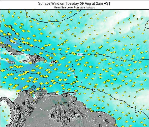 Saint Lucia Surface Wind on Sunday 27 Jul at 8pm AST