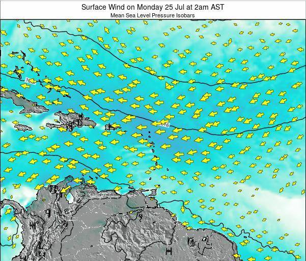 British Virgin Islands Surface Wind on Monday 28 Apr at 2am AST