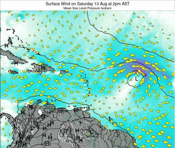 Saint Lucia Surface Wind on Monday 17 Mar at 8am AST