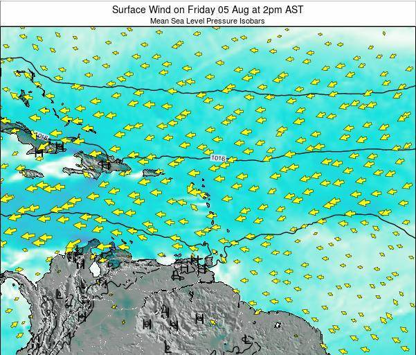 Saint Lucia Surface Wind on Wednesday 05 Nov at 2pm AST